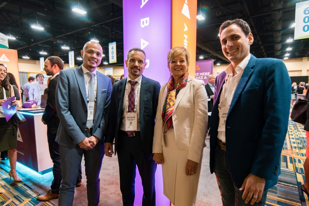 Celebrating the PerformRx partnership with Noel Ortiz, Director of Clinical Operations for PerformRx, Andrew Maiorini, VP of Clinical Programs for PerformRx, Susan Cantrell, CEO of AMCP, and Jason Borschow, CEO of Abarca